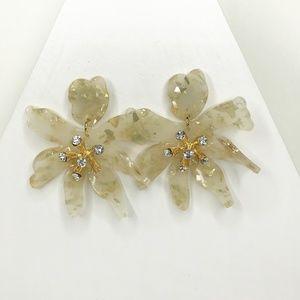 Mini Crystal Lily Drop Earrings in White